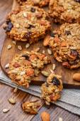 Homemade oatmeal cookies with seeds and raisin — Stok fotoğraf