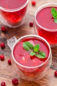 Cranberry cocktail with mint garnish. — Stock Photo