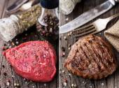 Raw and grilled beefsteak on a wooden board — Stock Photo