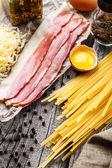 Ingredience pro těstoviny carbonara — Stock fotografie