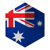 Australia Flag Hexagon Flat Icon Button — Stock Vector