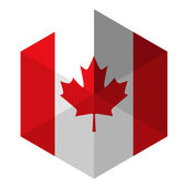 Canada Flag Hexagon Flat Icon Button — Stock Vector