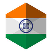 India Flag Hexagon Flat Icon Button — Stock Vector