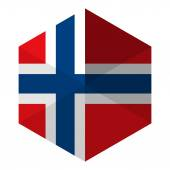 Norway Flag Hexagon Flat Icon Button — Stock Vector