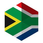 South Africa Flag Hexagon Flat Icon Button — Stock Vector