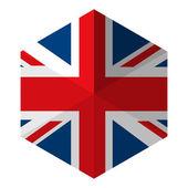 UK Flag Hexagon Flat Icon Button — Stock Vector