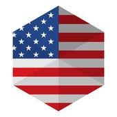 USA Flag Hexagon Flat Icon Button — Stock Vector