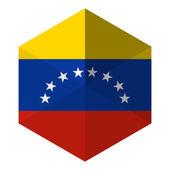 Venezuela Flag Hexagon Flat Icon Button — Stock Vector