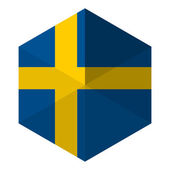 Sweden Flag Hexagon Flat Icon Button — Stock Vector