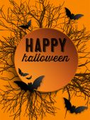 Feliz fondo bate del icono halloween fantasma — Vector de stock
