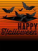 Happy Halloween Ghost Bat Icon Background — Stock Vector