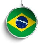 Merry Christmas Ball with Flag Brazil — Stock Vector #60516885