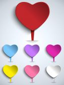 Valentine Day Colorful Heart Buttons — Stock Vector