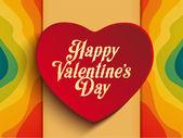 Valentine Day Heart on Rainbow Background — Stock Vector