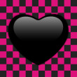 Valentines Day Glossy Emo Heart. Pink and Black Checkers — Stock Vector #63887841