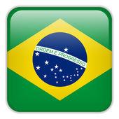 Przycisk Brazylia flaga Smartphone Square — Wektor stockowy