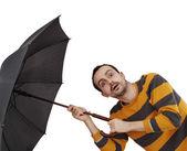 Man with umbrella — Stock Photo