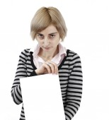 Woman holding a paper — Stock Photo