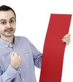 Man holding a paper — Stock Photo