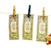 Dollars on the wire — Stock Photo