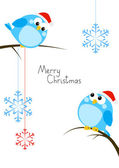 Cute little birds with Christmas snowflakes — 图库矢量图片
