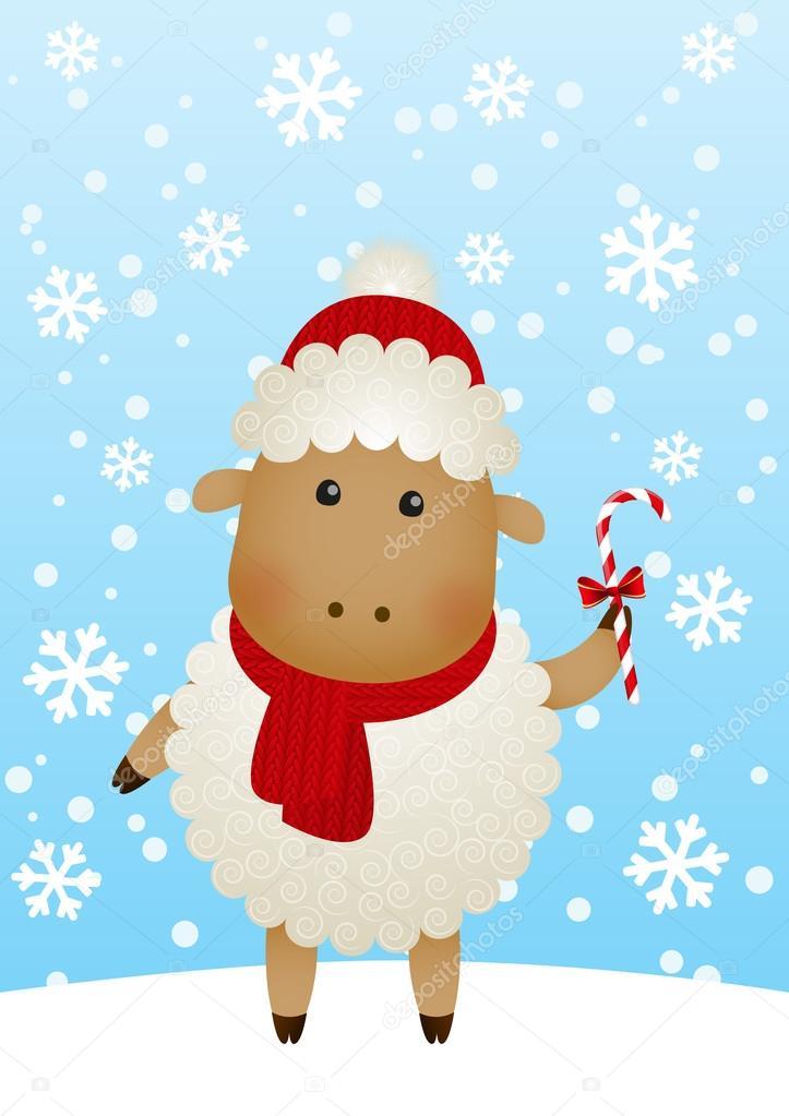可爱的绵羊冬季背景– 图库插图