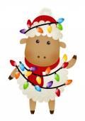 Sheep with Christmas bulbs — Stok Vektör