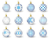 Set of glossy Christmas balls — Stock Vector