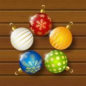 Christmas balls on wooden background — Stock Vector