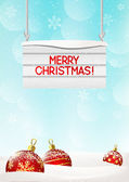 Christmas background with wooden signboard — Stock Vector