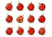 Kırmızı noel topları kümesi — Stok Vektör