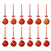 красный рождественские шары — Cтоковый вектор