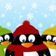 Penguins on winter background — Vector de stock  #59548105