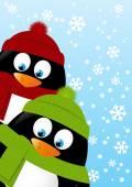 Penguins on winter background — Stockvektor