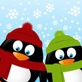 Penguins on winter background — Vettoriale Stock