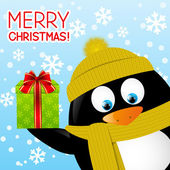 Funny cartoon penguin — Stock Vector