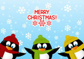 Funny cartoon penguins — Stock Vector