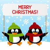 Christmas penguins — Stock Vector
