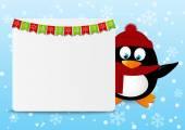 Pingüino de Navidad — Vector de stock
