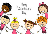 Valentines day card with kids — Stock Vector