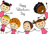 Valentines day card with kids — Stock vektor