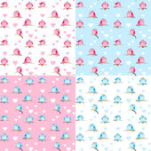 Patterns with cute birds — ストックベクタ