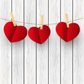 赤い紙の心 — ストックベクタ