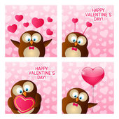 Valentines day owls — Stock Vector