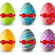 Set of Easter egg with red bow — Stock Vector #65768085
