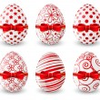Set of Easter egg with red bow — Stock Vector #65768139