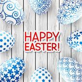 Easter card blue eggs — Vecteur