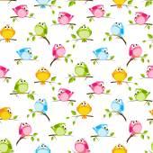 Pattern with colorful birds — Vetor de Stock