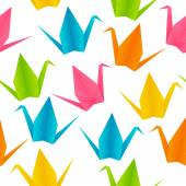 Pattern with origami cranes — Stock Vector