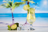 Cocktail with lime slices — Stock Photo